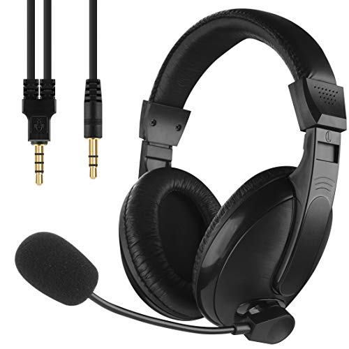 LinkIdea Stereo Headset with Microphone for Online Classes, Conference Calls, School Hearing Kids Earphone, fits Computers, Notebook, Mobile Phones, Laptop, PC, Boys, Girls, Kids (Black)