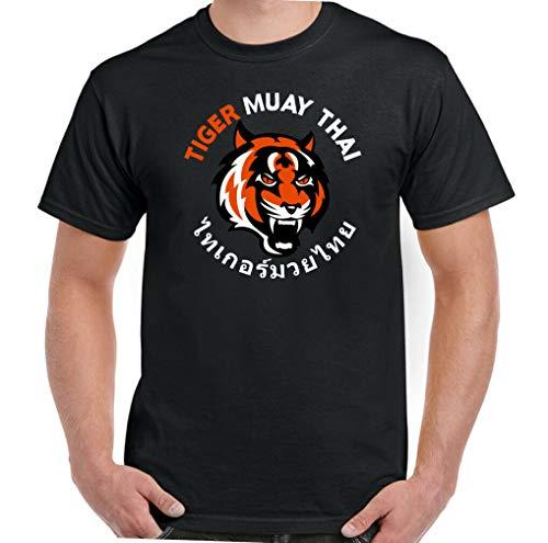 Tiger Muay Thai Camiseta de Manga Corta Gráficos de Tendencia Pirografía Suelta con Cuello Redondo Camiseta 3D Moda con Cuello en o Estudiante Ocio Viaje Viaje Trabajo