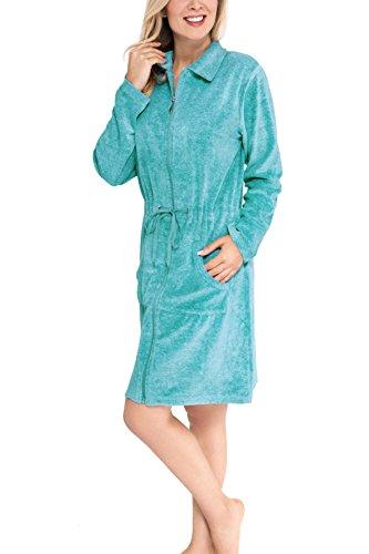 Moonline Nicki-Bademantel mit Reißverschluss für Damen, Farbe:türkis, Größe:XL