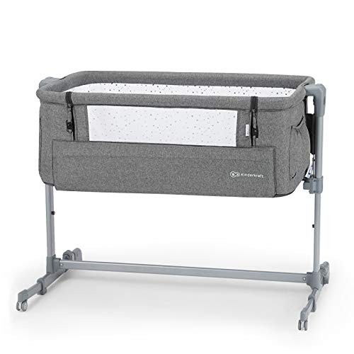 Kinderkraft Bedside Crib NESTE UP, Travel Cot, Co-Sleeping Bed, Ajustable Height, Foldable Side Wall, Transport Wheels, with Accessories, Cotton Sheet, for Newborn, 0-9 kg, up to 6 Month, Melange Gray