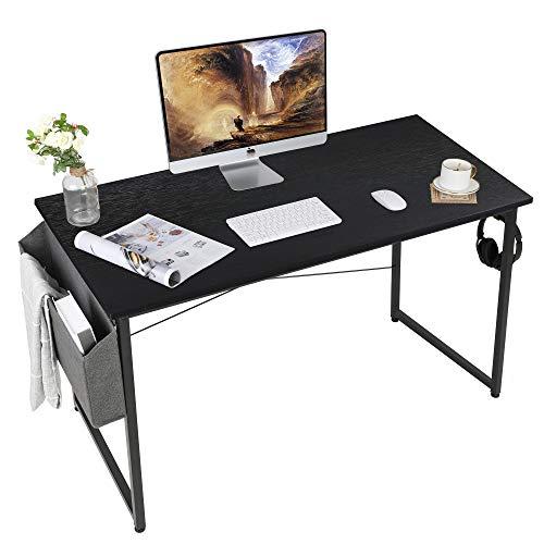 AuAg Escritorio negro 120 x 60 cm, mesa para ordenador con bolsa de almacenamiento, mesa pequeña de oficina, mesa de oficina, mesa para el hogar, oficina, escuela, mesa de trabajo estable
