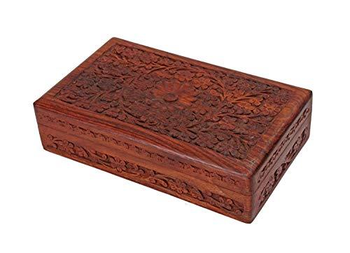 Ajuny Joyero de madera para mujer, tallado a mano, diseño floral