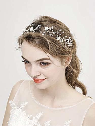 Runmi Pelo nupcial Vine Silver Novia Accesorios para el pelo de la boda de la perla de las diademas para las mujeres