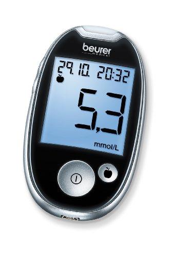 Beurer GL 44 Blutzuckermessgerät mmol/l (Schwarz, Sichere Blutzuckermessung durch breiten Teststreifen und Blutmengenkontrolle, kompatibel mit HealthManager Software bzw. App)