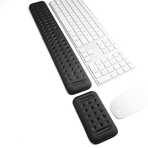 VAYDEER Keyboard and Mouse Wrist Rest Set Gaming Memory Foam Ergonomic Hand Palm Rest Support for Computer, PC, Laptop, Mac Typing and Wrist Pain Relief and Repair (17.3 Inch, Black)