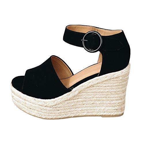 LAICIGO Womens Espadrille Wedge Peep Toe Sandals Summer Ankle Tie Up Platform Shoes High Heel Sandal