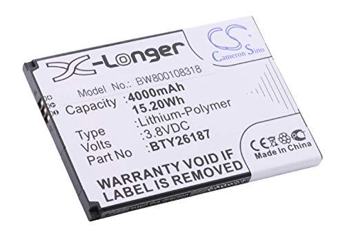 vhbw Li-Ion Akku 4000mAh (3.7V) für Handy Telefon Smartphone Elson Mobistel Cynus T6 wie BTY26187, BTY26187Mobistel/STD.