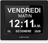 Lemnoi 7.5' Pouce LCD Horloge Numérique Calendrier avec Date Jour Et Heure Horloge Non-Abrégée Auto Dimming 8 Langues HD Display Rappel pour Alzheimer Les Personnes âgées et Les Enfants