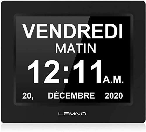 Lemnoi 7.5 'Inch LCD Digital Clock Calendar com data, dia e hora Relógio não abreviado Auto escurecimento 8 idiomas lembrete de exibição HD para Alzheimer ...