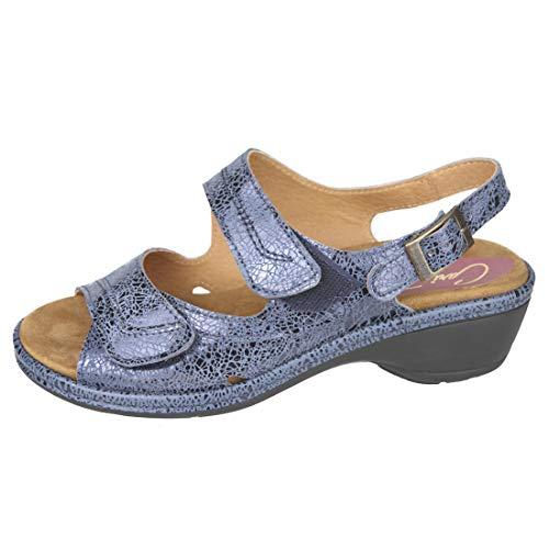 Cómoda Sandalia Mujer para Plantillas extraibles Color Azul Ideal para Esta Temporada Primavera - Verano 2019 para pies delicados Anchos Especiales (41 EU)