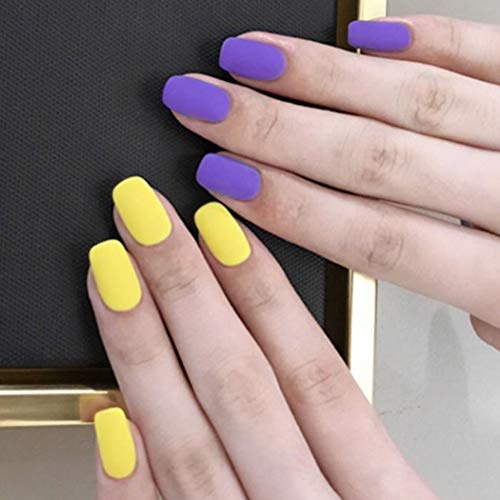 Sakytal Cute Square Fake Nails Yellow Purple Matte Short Press on Nails Full Cover Acrylic Artificial False Nail Accessories for Women and Girls (24Pcs)