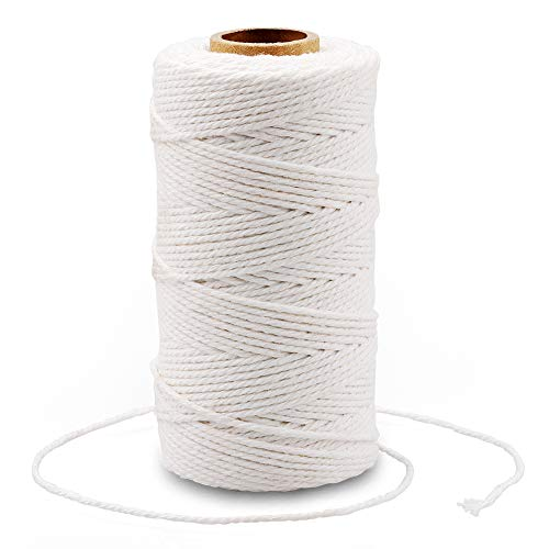 Cotton Bakers Twine,328 Feet 2MM Natural White Cotton String for Crafts,Gift Wrapping Twine,Arts & Crafts, Home Decor, Gift Packaging(White)