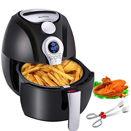Blusmart Heißluftfritteuse 3,2 Liter XL Air Fryer mit Digitale Display   fritteuse ohne fett   1400 Watt gesundes Kochen Heissluft Fritteusen (mit Frei Edelstahl-Küchenzange Rezeptheft)