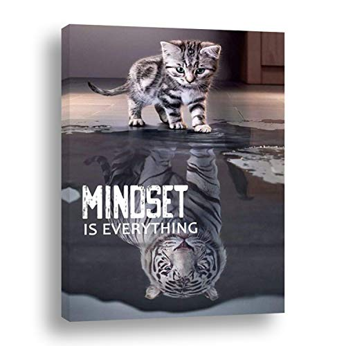 Motivational Canvas Wall Art 16'x24' cat and tiger framed large wall decor-Inspirational Quotes-Mindset is everything for home office Classroom gym print-teen bedroom decoration for Living Room