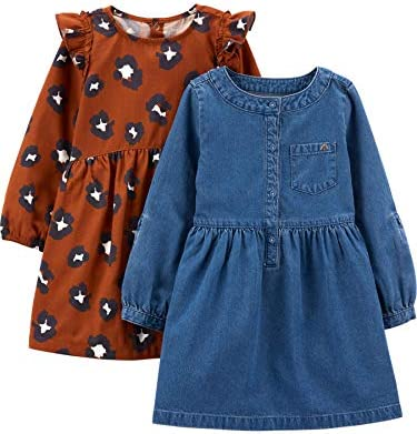 Simple Joys by Carter s Girls Toddler 2 Pack Long Sleeve Dress Set Chambray Cheetah Print 3T product image