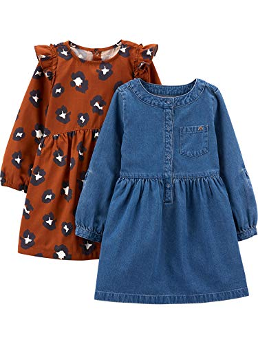 Simple Joys by Carter's 2-Pack Long-Sleeve Set Infant-and-Toddler-Playwear-Dresses, Chambray- / Gepardenmuster, 3 Jahre, 2er-Pack