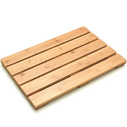"""Signature Living Bamboo Bath Mat for Bathroom, Outdoor Shower, Spa (19.7"""" x 13"""" x 1.3"""") Eco-Friendly, Anti-Slip Wood Shower Mat - Protective, Water-Resistant Coating"""
