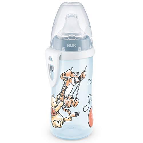 NUK Active Cup - Vaso para aprender a beber (12 meses, boquilla antigoteo, clip y tapa protectora, sin BPA, 300 ml), diseño de Winnie the Pooh de Disney, color azul