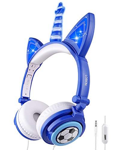 LOBKIN Cuffie con orecchio da gatto dei bambini,Pieghevole cuffie bambina per ragazzi e le ragazze,auricolari unicorno per COSPLAY,over ear cuffie con Lettore MP3 (Blu-1)