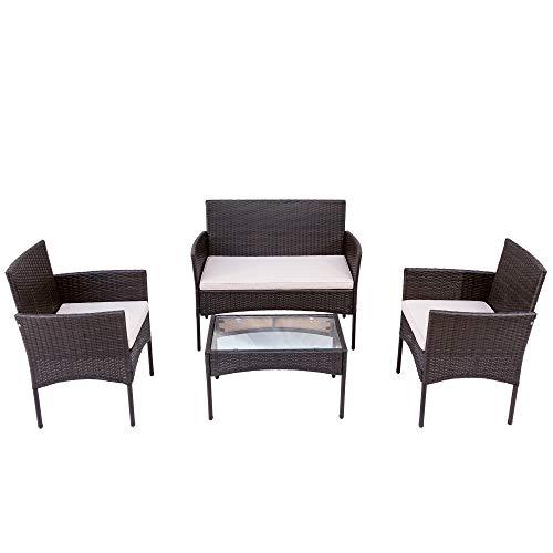 Belissy Set di mobili da balcone in rattan sintetico, da giardino, balcone, terrazzo, divano, set di mobili da giardino in polyrattan, per mobili da giardino, balcone e terrazza (marrone + rattan)