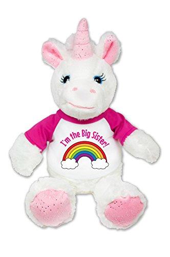 Flutter Hut I'm The Big Sister Unicorn Plush Pink Sparkles Message T-Shirt 8 Inches