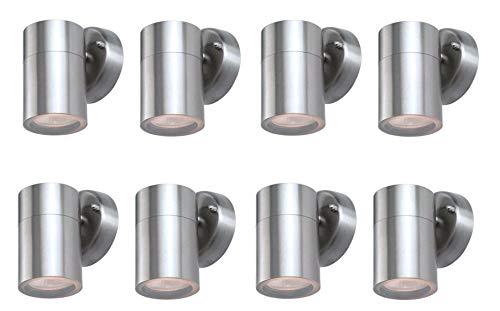 8 x hochwertige Außen-Wandleuchte Spot Bornholm up and down oder down Fassung GU10 Außenstrahler Spot Wandlampe (8x1 flammig LED 4Watt)