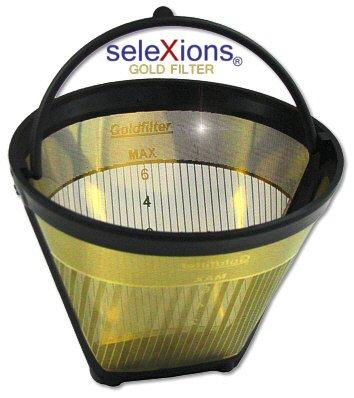 seleXions GF2S Goldfilter klein 2-6 Tassen mit antihaft Titanhartschicht, mit Skalierung 2-6 T