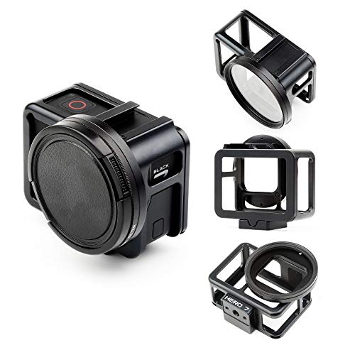 SHOOT Schutzhülle aus Aluminiumlegierung mit Hintertür für GoPro Hero 7 Schwarz/Gopro 6 / Gopro 5, Stärkeres Signalschutz Metall Side Shell mit 52mm UV-Filter und Objektivdeckel