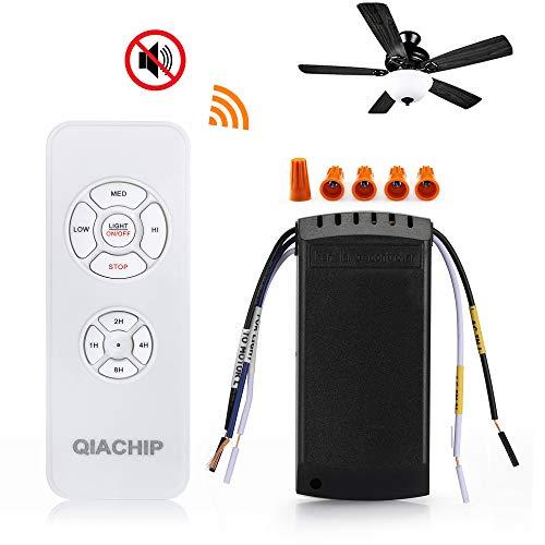 QIACHIP Wireless Universal Deckenventilator Lampe Fernbedienung Kit Mit 3 Lüftergeschwindigkeiten Und Lichtsteuerung Schalter Für Decken Ventilator Raum Kühler Lüfter Licht 4 Timing Controller 220V