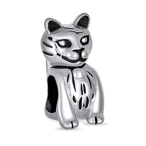 [ブリングジュエリー] スターリングシルバー925製 おすわり 猫チャーム ヨーロピアンスタイルビーズ パンドラブレスレットに付けられます