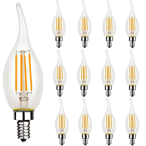 12 Pack Dimmable LED Candelabra Bulb, CA11 Shape,Flame Tip Style, 60 Watt Equivalent, 2700K Soft White, E12 Base, Chandelier LED Edison Light Bulbs,CRI 90+, UL Listed LED Bulb