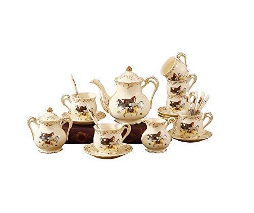 DGHJK Teteras Juego de té de Estilo Europeo Plato de cerámica para Taza de café con Bandeja Juego de teteras de Lujo para Sala de Estar