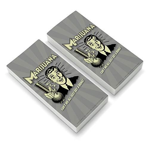 Marijuana Can't We All Just Get a Bong Funny Humor Retro Eraser Set of 2