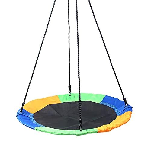 ZXXL Columpio de Nido Jardin Exterior Hamacas Columpio de Árbol de Platillo Volador para Adultos, Columpio Redondo con Plataforma Multicolor, Altura Ajustable, Tejido Oxford 900D y Cuerdas de PE