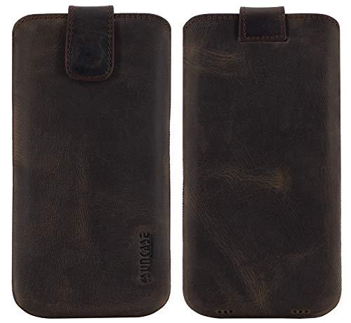 Suncase ECHT Ledertasche Etui kompatibel mit Fairphone 3 Hülle (passend nur mit der MITGELIEFERTE Bumper) antik dunkel braun