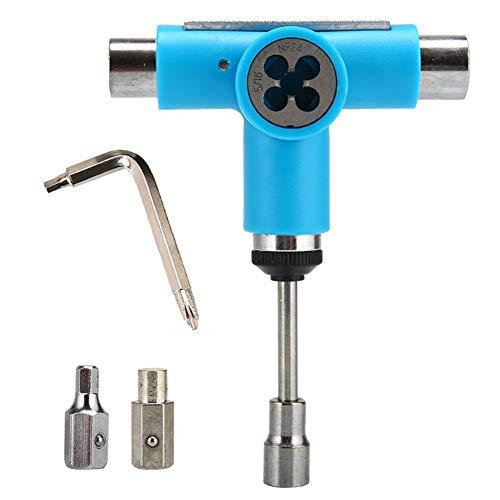GEZICHTA Skateboard-Werkzeug-Set, multifunktional, leicht, praktisch, Mini-Schlüssel-Reparatur mit Ratsche, tragbar, universell, leistungsstark, Sy-Apply T-Schraubenschlüssel (blau)