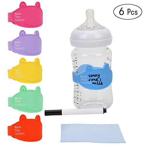 Baby Bottle Labels for Daycare, Durable Writable Reusable Food -Grade Silicone 6 Pack Baby Bottle Labels with Dry Erase Marker Foretoo