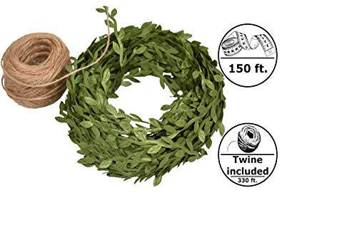 Green Leaf Trim Ribbon Vine, 150 ft Green Artificial Vine Ribbon with Leaves + 330 ft of Natural Jute Twine Packing String Ribbon - for Wedding Greek Garden Party Home Decorative Botanical Greenery