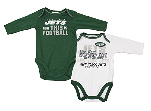 GERBER New York Jets NFL Unisex Baby Infant 2 Piece Bodysuit Set, Green and White (0-3 Months)