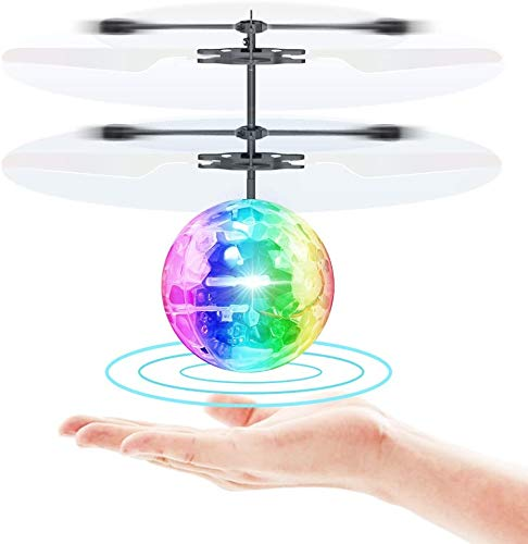 VintageⅢ Flying Ball Infrared Induction RC Flying Toy Built-in LED Light Disco Helicopter Shining Colorful Flying Drone Indoor and Outdoor Games Toys for 1 2 3 4 5 6 7 8 9 10 Year Old Boys and Girls
