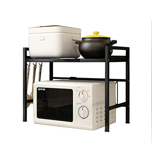 Haotrend Microwave Shelf Countertop, Expandable and Height Adjustable Carbon Steel Microwave Oven Rack, 2-Tier Kitchen Counter Shelf with 3 Hooks (Black, 2-Tier Expandable & Height Adjustable)