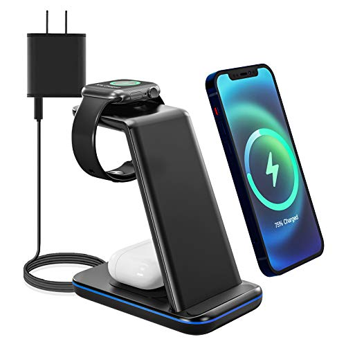 Wireless Charging Stand, 3 in 1 Wireless Charger for Apple Watch SE/6/5/4/3/2, AirPods Pro/2, Wireless Charging Station/Dock for iPhone 12/12 Pro Max/SE/11 Series/X/XS/XR/8 Plus with QC 3.0 Adapter