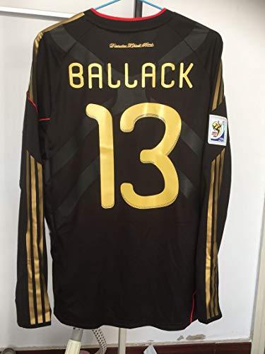 SU Michael BALLACK#13 Germany Retro Long Sleeve Trikot 2010 Full Patch Black Color (L)