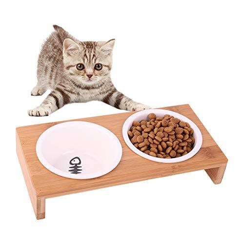 SUNNED Katze Napf Set Futterstation Doppel Napfständer Bambus Keramikschalen Wasser Futter für kleine Hunde und Katze (2 Näpfe)