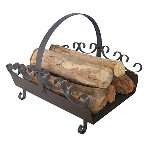 Houten legger van staal in gietijzeren grijs met versiering ca. 42 x 35 x 36 cm – ideaal voor het opbergen van hout, voor het vervoer van haardhout – als vervanging van houten manden.