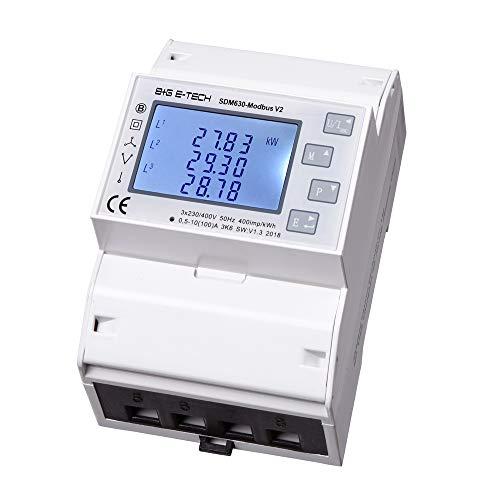 B+G E-Tech SDM630Modbus - digitaler Stromzähler Zweirichtungszähler für Drehstrom und Wechselstrom als Zwischenzähler geeignet bis 80A mit LC-Display, 2x S0 Impulsausgang, RS485 Schnittstelle