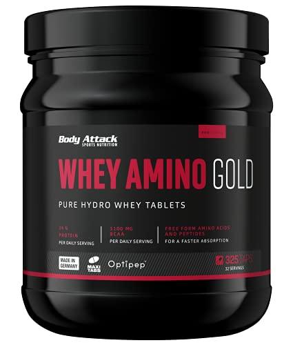 Body Attack- Whey Amino Gold, hochdosierte Whey-Hydrolisat Tabs, 3100mg BCAA + 14mg Whey- Protein pro Tagesportion, für alle Sportler & Athleten-Made in Germany- 325 Tabletten