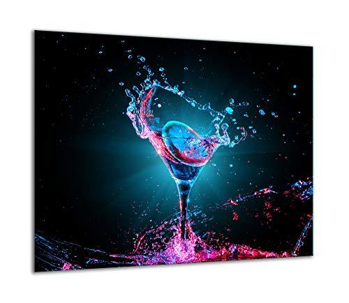 TMK | Placa de cristal para cubrir la cocina de 60 x 52 cm, una sola pieza, para cocina eléctrica, inducción, protección contra salpicaduras, placa de cristal, decorativa, tabla de cortar, color negro