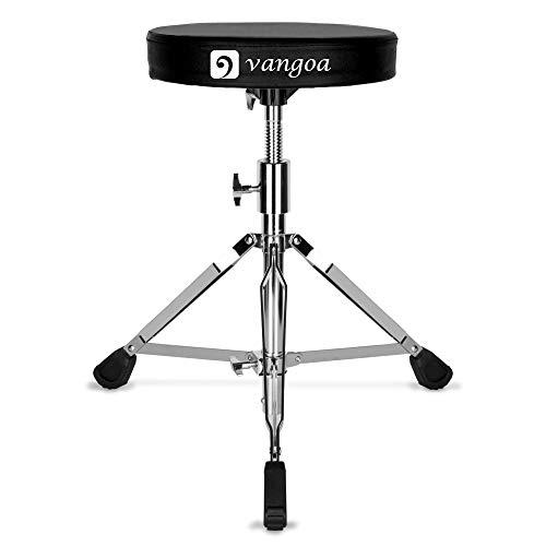 Vangoa Drum Throne, Deluxe dik gevulde Drum Seat draagbare in hoogte verstelbare Drum krukken, zwart