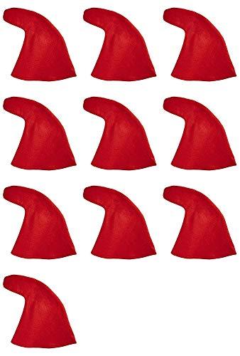 Zwergenmütze zum Kostüm Rot - 10er-Set